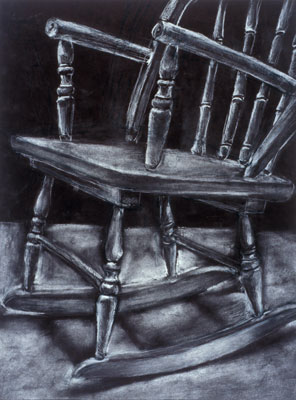 Katie Barclay - Chair, White Charcoal on Black Paper