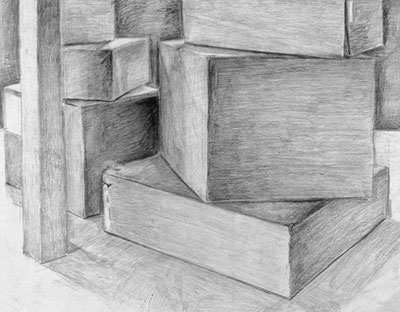 Katie Barclay - Cardboard Boxes, Ebony Pencil