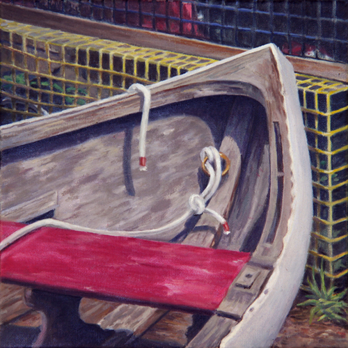 "Will Kefauver oil painting, ""Dinghy 'n' Trap"""