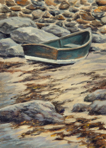"Will Kefauver oil painting, ""Dinghy at Swim Beach"""