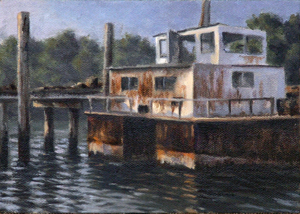 "Will Kefauver oil painting, ""Old Barge"""