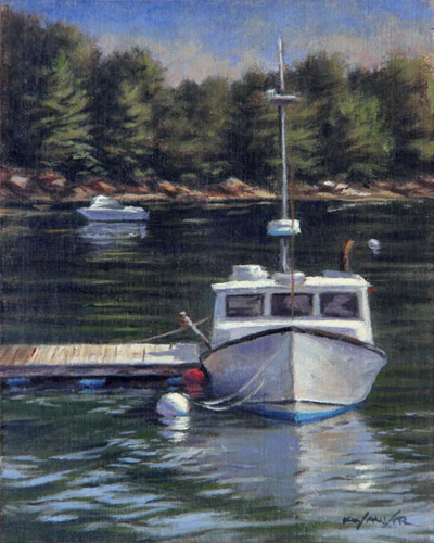 "Will Kefauver oil painting, ""South Bristol Lobster Boat"""
