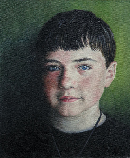 Jack at 14, portrait in oil, Will Kefauver