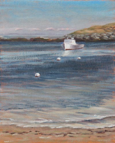 "Will Kefauver oil painting, ""Alone in the Harbor"" Monhegan Island, Maine"
