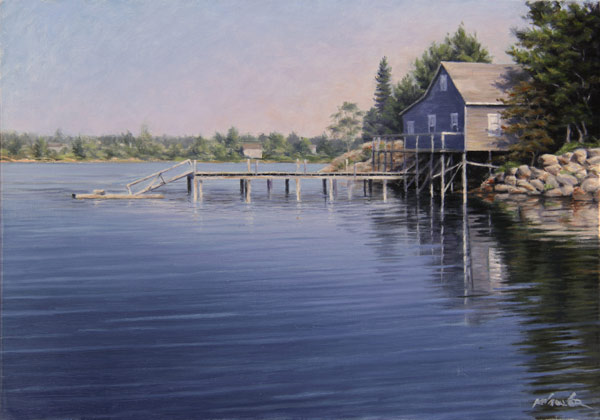 "Will Kefauver oil painting, ""Maine Dock"""