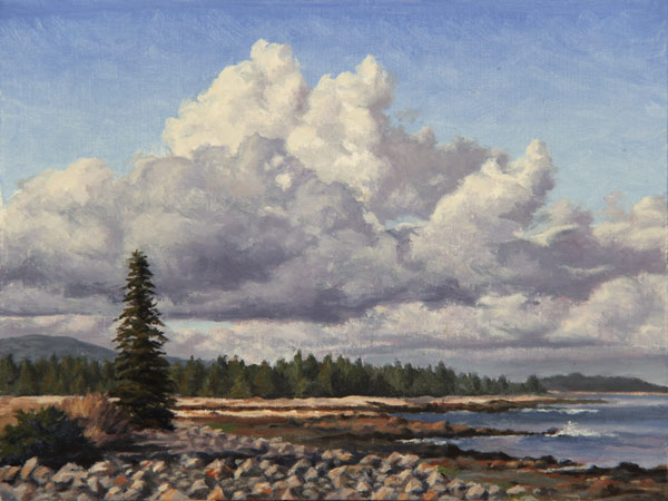 "Will Kefauver oil painting, ""Seawall Clouds"""