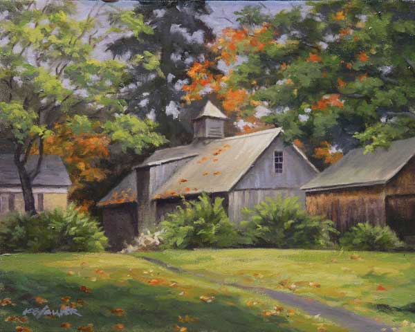"Will Kefauver oil painting, ""Barn at the Griswold"""